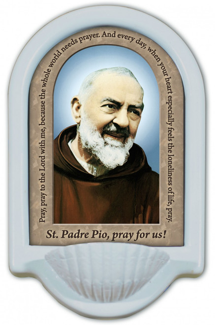 St. Padre Pio Prayer Holy Water Font