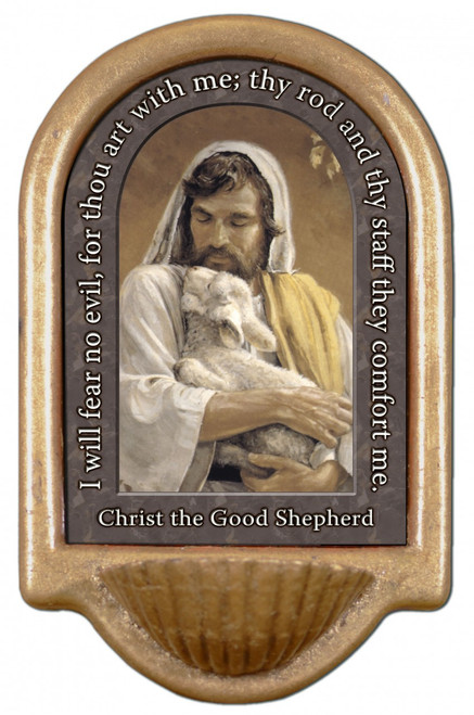Christ the Good Shepherd Prayer Holy Water Font