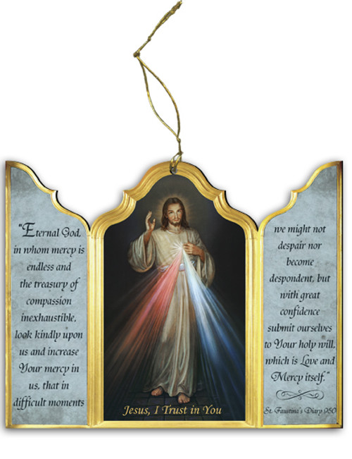 Divine Mercy Triptych Wood Ornament