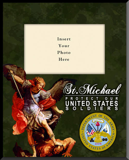 army st michael vertical picture frame insert your - Military Picture Frames