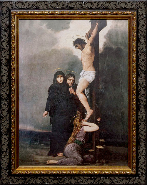 Crucifixion of our Lord Canvas - Ornate Dark Framed Art