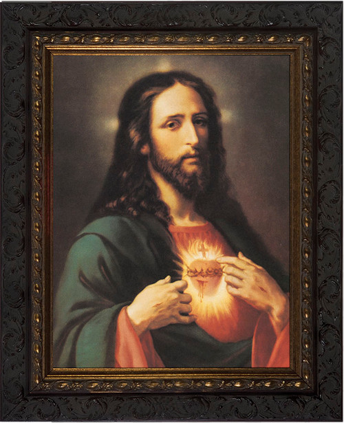 Sacred Heart of Jesus Canvas - Dark Ornate Framed Art