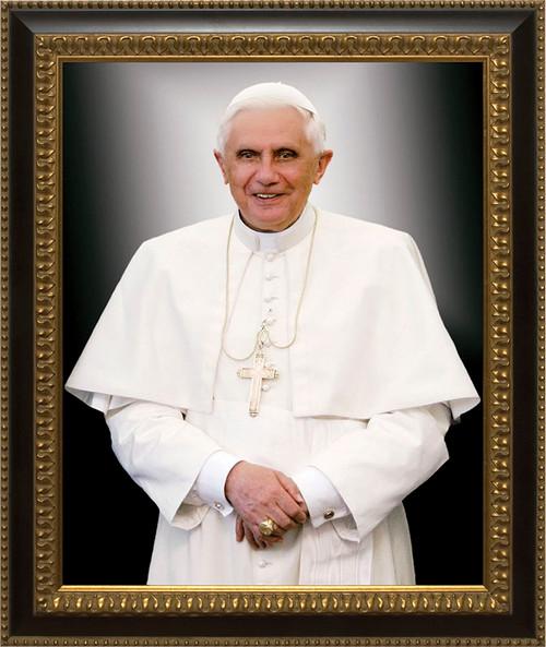 Pope Benedict Formal Canvas - Ornate Dark Framed Art