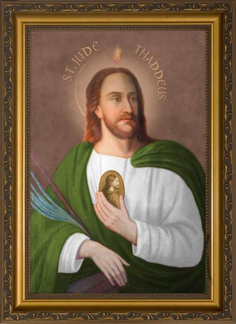 Saint Jude Thaddeus Portrait Canvas - Standard Gold Framed Art