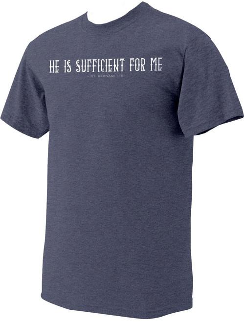 """""""He is Sufficient"""" St. Bernadette Heather Navy T-Shirt"""