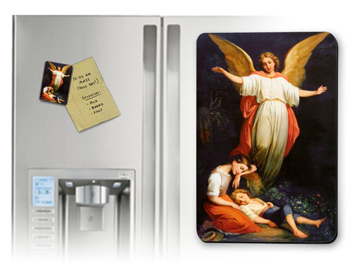 Guardian Angel with Children Resting Magnet