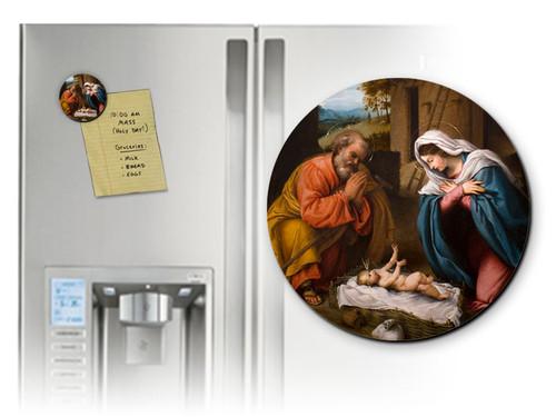 Nativity with Reaching Jesus Round Magnet