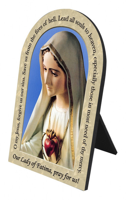 Our Lady of Fatima Prayer Arched Desk Plaque