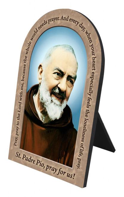 St. Padre Pio Prayer Arched Desk Plaque