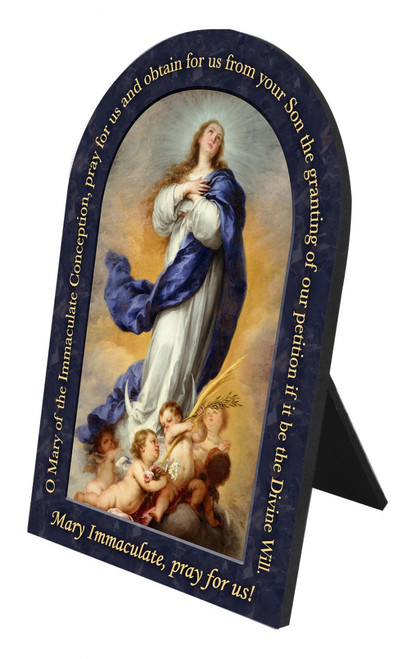 Immaculate Conception Prayer Arched Desk Plaque