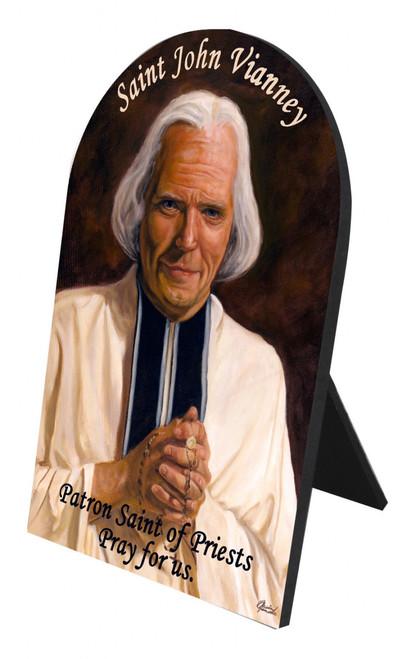 St. John Vianney Arched Desk Plaque