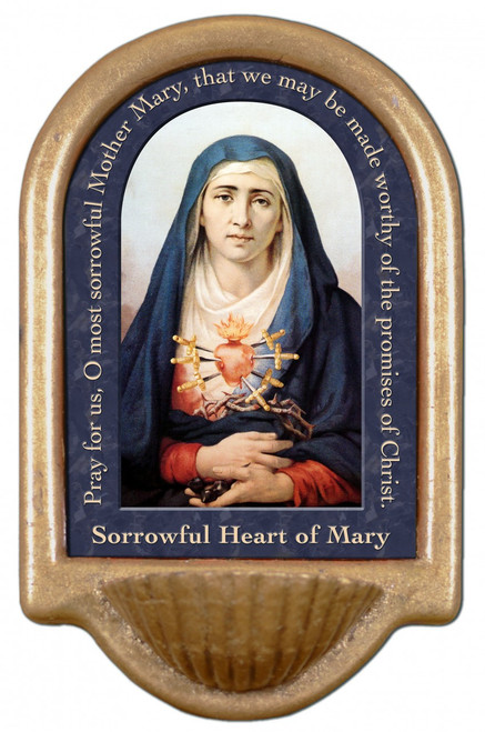 Our Lady of Sorrows Prayer Holy Water Font