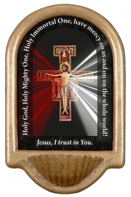 San Damiano Divine Mercy Prayer Holy Water Font