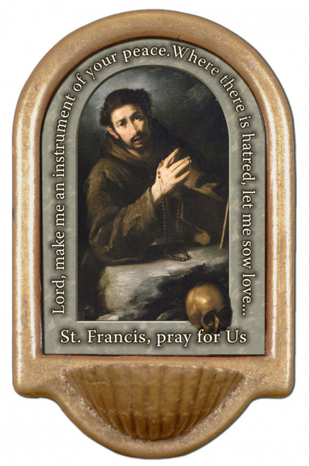 St. Francis of Assisi Prayer Holy Water Font