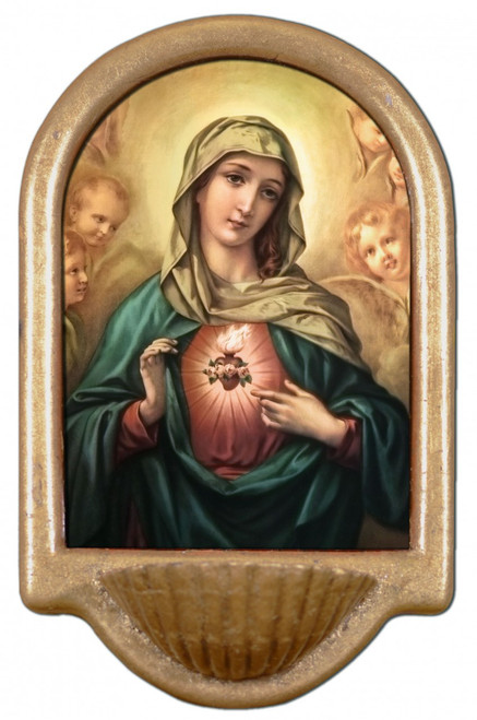 Immaculate Heart Surrounded by Angels Holy Water Font