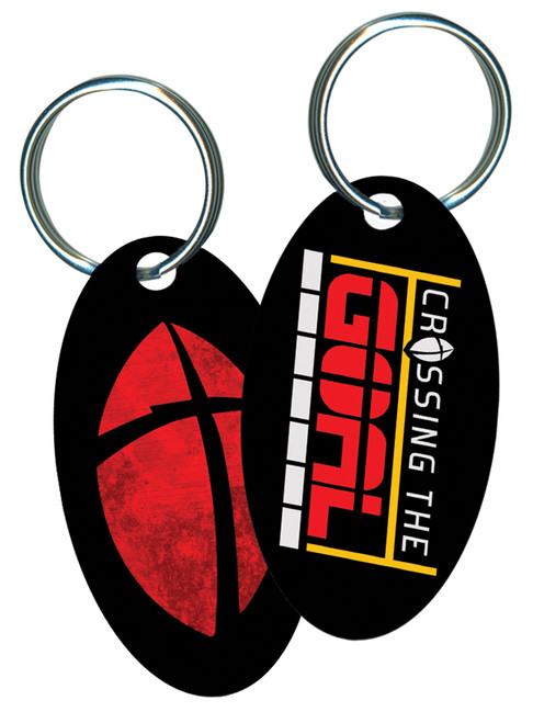 Crossing the Goal Oval Keychain