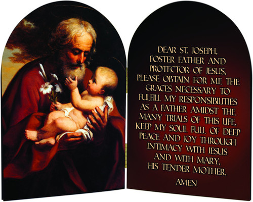 St. Joseph A Father's Prayer Arched Diptych