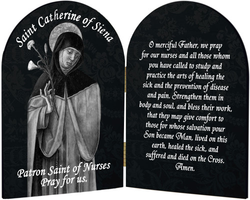 St. Catherine Nurse's Prayer Arched Diptych