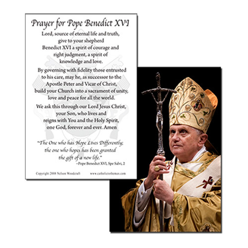 Pope Benedict with Paschal Staff Holy Card