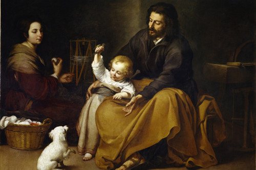 Holy Family with Small Bird Holy Cards