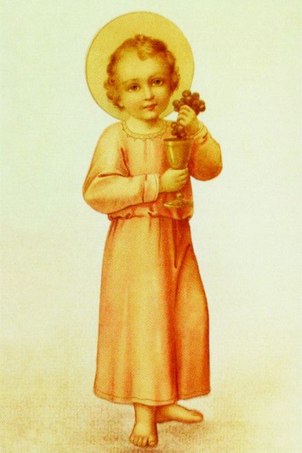 Christ Child With Grapes Holy Card