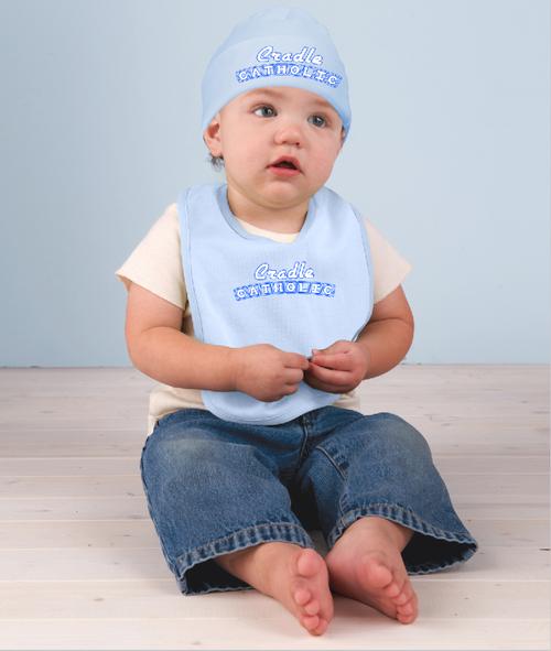 Cradle Catholic Baby Hat and Bib Set