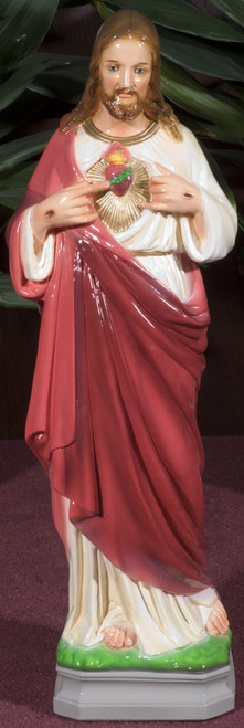 Sacred Heart of Jesus Painted Outdoor Statue (Call to Order)