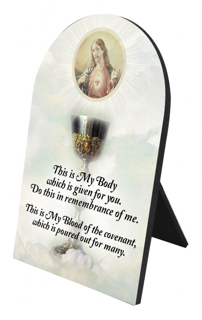 Chalice with Sacred Heart Arched Desk Plaque