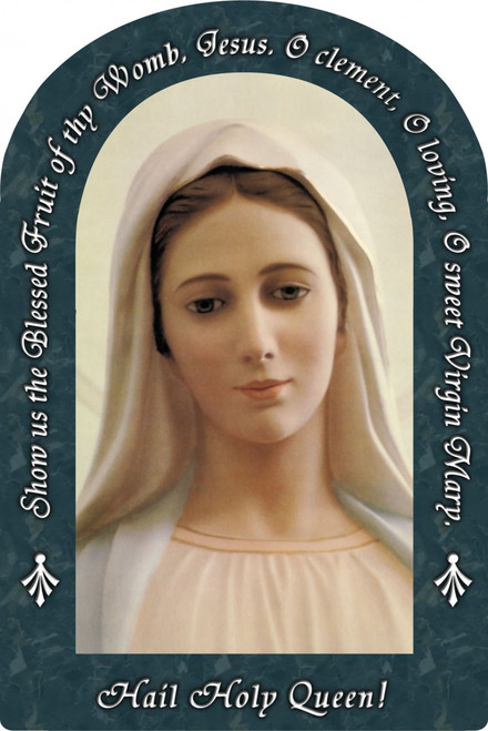 Our Lady of Medjugorje Hail Holy Queen Arched Magnet