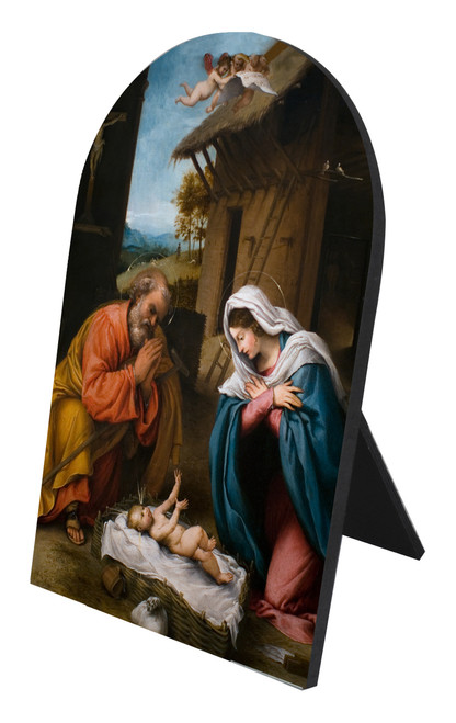 Nativity with Reaching Jesus Arched Desk Plaque