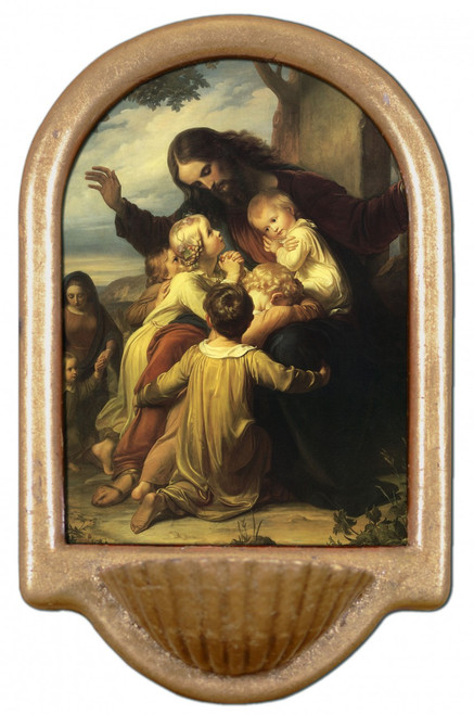 Jesus with the Children Holy Water Font