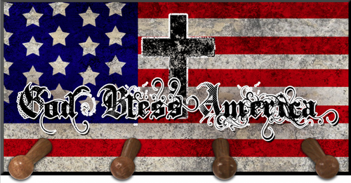 God Bless America Keychain Holder