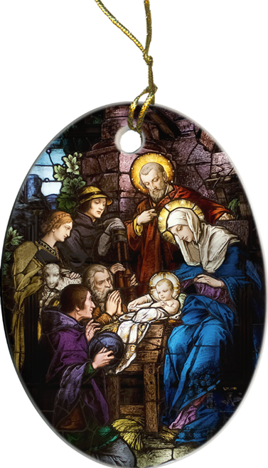 Nativity Stained Glass Ornament