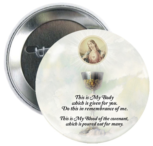 Sacred Heart and Eucharist Button