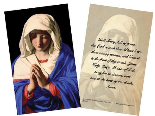 Madonna in Prayer Holy Card