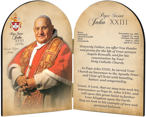 Commemorative Pope John XXIII Sainthood Prayer Arched Diptych