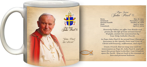 Pope John Paul II Sainthood Portrait Commemorative Prayer Mug