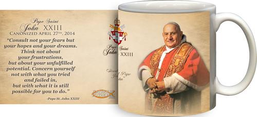 Pope John XXIII Sainthood Portrait Commemorative Quote Mug