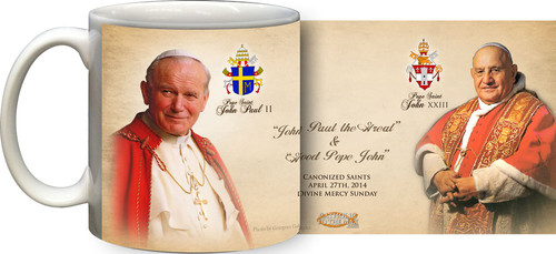 Pope John Paul II & John XXIII Sainthood Portraits Commemorative Mug