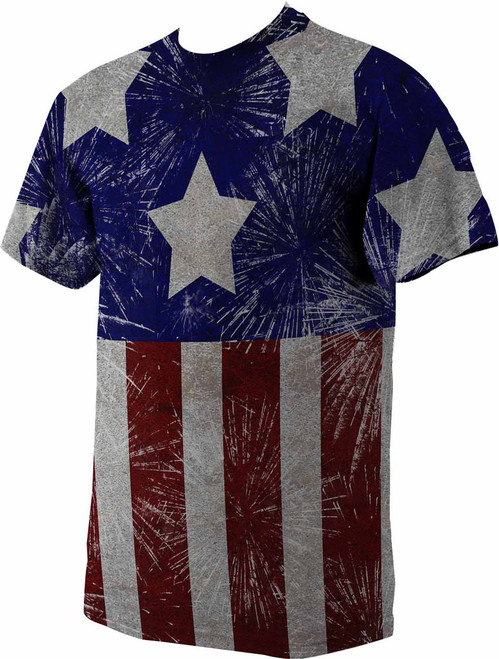American Flag Graphic Poly T Shirt