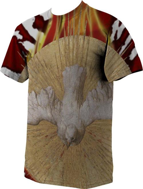 Holy Spirit Burnt Graphic Poly T Shirt