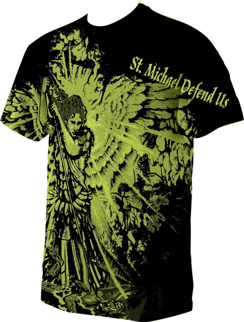 St. Michael Defend Us Graphic Poly T Shirt
