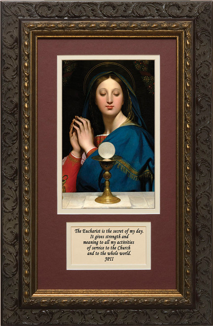 Madonna of the Host Matted with Reflection- Ornate Dark Framed Art