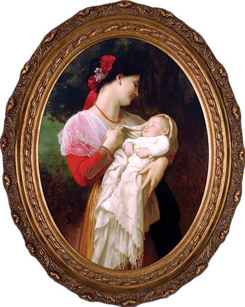 Maternal Admiration - Oval Framed Canvas