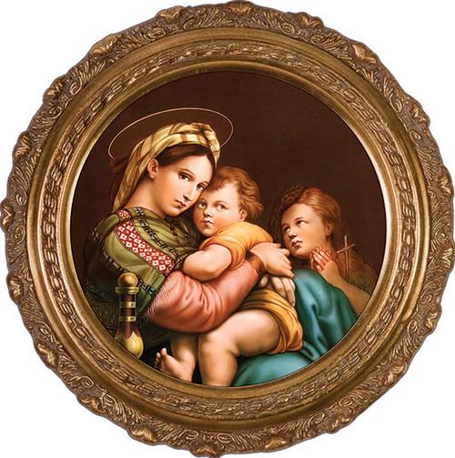 Madonna della Seggiola (Madonna of the Chair) - Round Framed Canvas