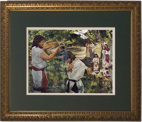 Baptism of Jesus by Jason Jenicke Matted - Gold Framed Art