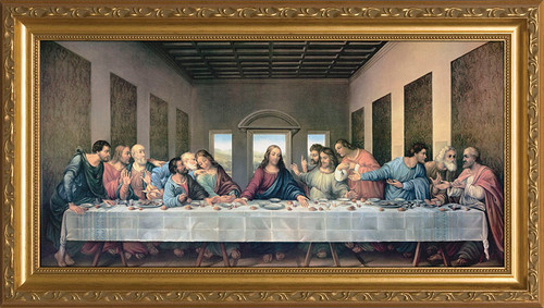 Last Supper by Da Vinci Restored - Gold Framed Art