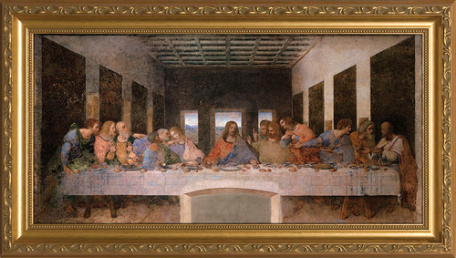 Last Supper by Da Vinci - Gold Framed Art