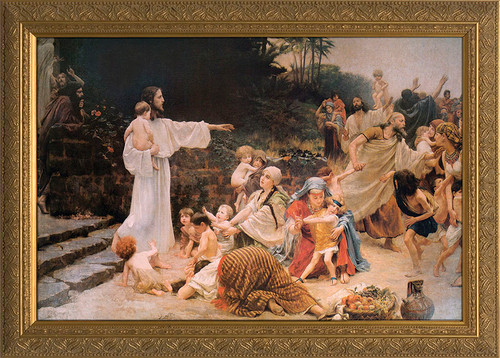 Let the Children Come - Gold Framed Canvas