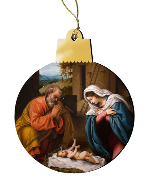 Nativity w/ Reaching Jesus Wood Ornament